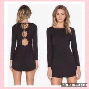 NBD Revolve Black Lace Up Dress